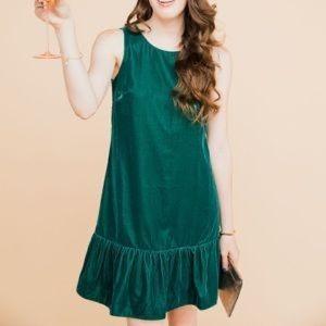 J. Crew Green Velvet Dress - Size 8